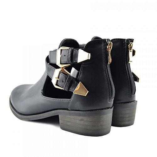 Calzature con tacco basso, da donna, modello Kick-Stivaletti Chelsea alla caviglia Black