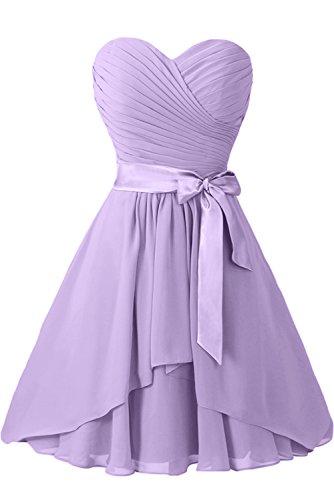 Gorgeous Bride Elegant Traegerlos A-Linie Chiffon Mit Satin Gürtel Knielang Abendkleider Ballkleider Festkleider Lilac