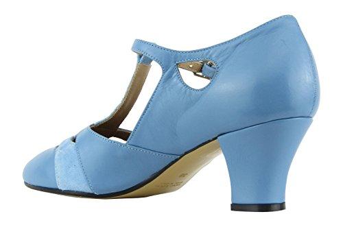Rumpf Premium Line 9233 Damen Swing Lindy Hop Balboa Tanz Schuhe Leder Absatz 5 cm, Blau, 38 EU - 4