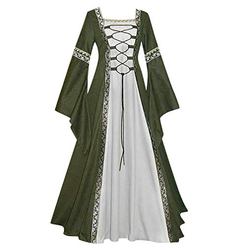 ♥ Loveso♥ Damen Langarm Renaissance Mittelalterliche Kleid mit Trompetenärmel Mittelalter Party Kostüm Maxikleid S-XXXXL