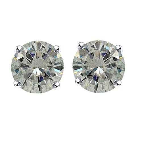 Lilu Jewels in argento Sterling 925placcato platino con farfallina, taglio brillante rotondo Moissanite solitario orecchini (Taglio Rotondo Moissanite Solitaire)