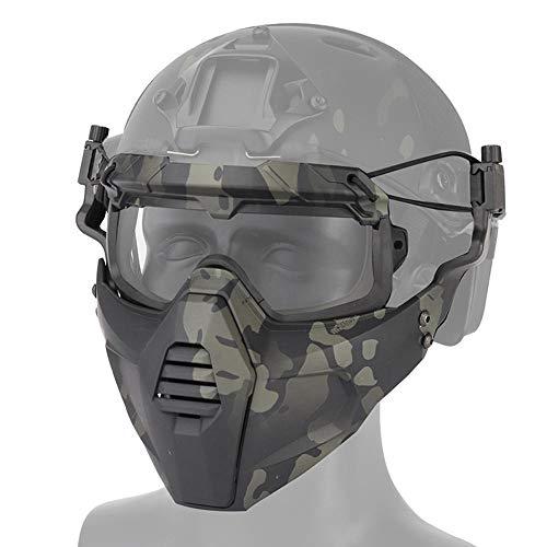 AUOKER Airsoft Maske Schutzbrille Set Paintball Maske Full Face Maske verstellbar & abnehmbar Kann mit Fast Helm Arbeiten, für Outdoor Cs War Game BB Gun Halloween Skelett Masken Party Cosplay