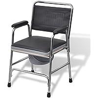 vidaXL Toilettenstuhl Nachtstuhl WC- Stuhl mit Rückenlehne feststehend Stahl