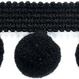 10m Pompomborte/Pompomband in vielen Farben PA-40 (1,30 EUR pro Meter) Farbe schwarz, dekoratives Bommelband