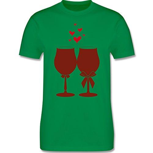 Symbole - Weingläser Wein - S - Grün - L190 - Herren T-Shirt Rundhals
