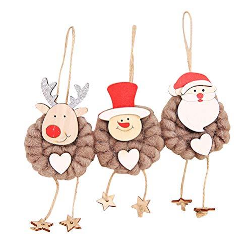 BESTOYARD 3 Stücke Weihnachtsschmuck Baum Kleiderbügel Nette Holz DIY Ornamente Santa Schneemann Elch Dekorative Cartoon Puppe Anhänger für Zuhause DIY Handwerk (Kaffee)