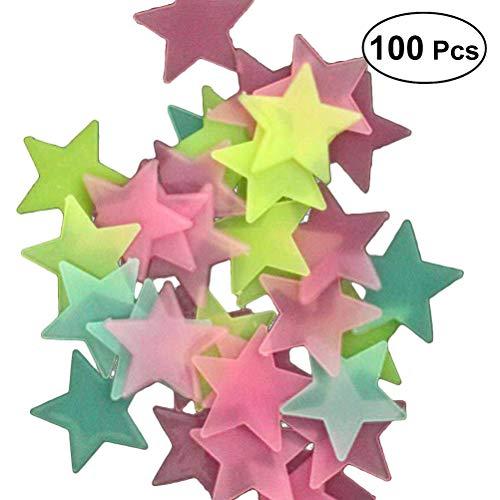 WINOMO 100pcs Sterne Glühen in der dunklen leuchtenden fluoreszierenden 3D Wandaufkleber Abziehbild Baby scherzt Schlafzimmer Decke Hauptdekor (gelegentliche Farbe) (Dunklen Der In Glühen)