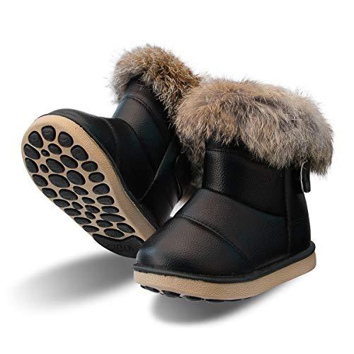 zhenghewyh Kinder Stiefeletten Mädchen Winter Stiefel Warmer Gefütterte Schneestiefel Baby Boots (Label 28/schwarz)