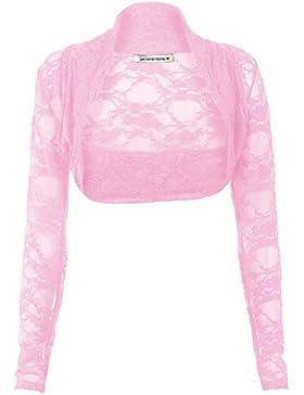 Janisramone mujer manga larga de encaje encogiéndose de hombros bolero chaqueta recortada parte superior