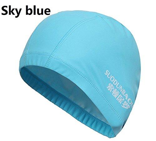 Nuoto Cap Elastic impermeabile traspirante PU tessuto di rivestimento proteggere le orecchie Capelli lunghi per uomini e donne adulti