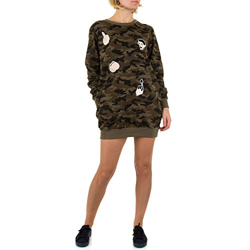 Tunika Mini Kleid Für Damen bei Ital-Design Khaki