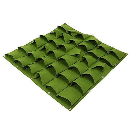 36 Taschen Pflanztaschen Wandbehang Gartenarbeit Pflanzer Outdoor Indoor Vertikale Greening Grow Taschen Flower Growing Container ( Farbe : Grün ) (Leichte Indoor-pflanzer)