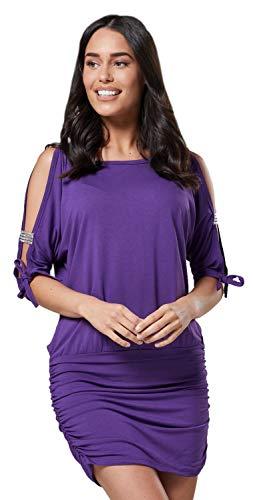 Glamour Empire Damen Tunik Top mit Armschlitz Mini-Kleid Schwarz Partykleid 157 (Lila, EU 44/46, 2XL)