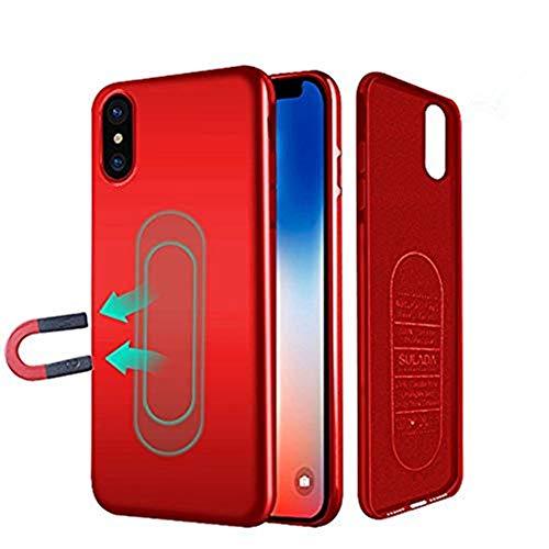 Haobuy custodia iphone x,cover magnetica per supporto magnetico auto con piastra metallica incorporata, custodia protettiva anti-graffio tpu antiurto per iphone x [rosso]