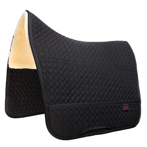Lammfell Satteldecke Champ CHRIST für Fellsattel Iberica Plus - Schabracke mit Sitzbereich aus echtem Lammfell, Sattelunterlage dämpfend, wärmend in schwarz, Gr.: Warmblut