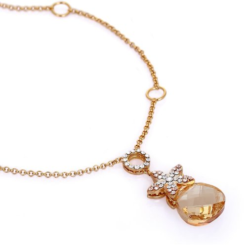 Stunning and Unique Pendant Necklace.Topaz Swarovski Crystal Element Flower Star Charm Detail on 14K Gold Plated Chain. A Beautiful Elegant Christmas Gift or Anniversary Jewellery For - Star Schmetterling Kostüm Für Verkauf