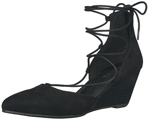 Jessica Peep Toe Pumps (Kenneth Cole REACTION Damen Wedge Pump LACE-UP Stand Down, Keilabsatz, Pumps, zum Schnüren, schwarz, 36 EU)