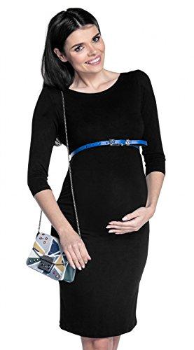 Zeta Ville - Robe grossesse manches 3/4 près du corps col bateau - femme - 064c Noir