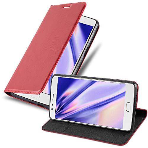 Cadorabo Hülle für OnePlus 3 / 3T - Hülle in Apfel ROT - Handyhülle mit Magnetverschluss, Standfunktion und Kartenfach - Case Cover Schutzhülle Etui Tasche Book Klapp Style