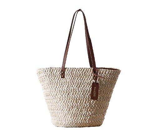 FAIRYSAN Dame Frau Beige große Stroh Umhängetasche Strand Urlaub Reise Design Tote Handtasche Schulrucksack mehrfarbig (Tote Handtasche Design)
