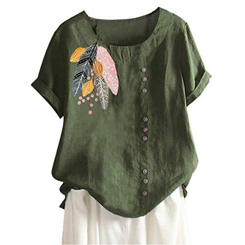 VêTements en Lin pour Femmes Soldes Casual Manche Courte Chemise Impression Bohémienne Loose Bouton Tunique Tops(Vert 5,2XL)