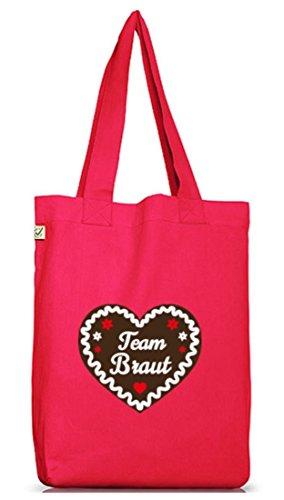 JGA 68 - Team Braut Lebkuchenherz, Junggesellenabschied Jutebeutel Stoff Tasche Hot Pink
