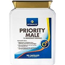 Suplemento Priority Male, que incluye Magnesio, L-Arginina, fenogreco, extracto de maca, Zinc, Ginko Biloba, extracto de ajo y de ginseng coreano
