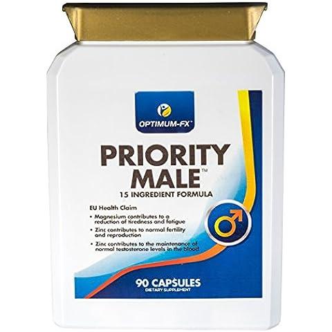 Suplemento Priority Male, que incluye Magnesio, L-Arginina, fenogreco, extracto de maca, Zinc, Ginko Biloba, extracto de ajo y de ginseng
