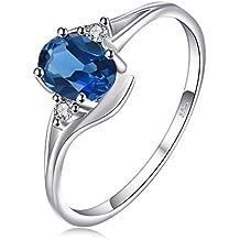 JewelryPalace Ovale 0.9ct Naturel Londres Bleu Topaze Solitaire Anneau de fiançailles en Argent 925
