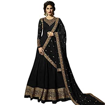 AnK Women's Georgette Long Anarkali Semi Stitched Salwar Suit With Dupatta (Black; Free Size)