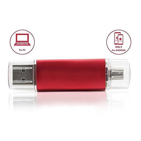 32GB Micro An USB Stick OTG 2.0 Speicher Für Android und PC, Rot