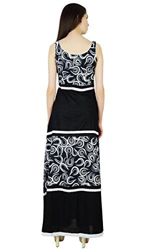 Phagun Sans Manches Robe D'Été Paisley Imprimer Les Occasionnels - Choisissez La Taille Noir Et Blanc