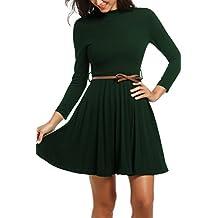 b488935b820cfc Zeagoo Damen Rollkragen Abschlusskleid Langarmkleid Partykleider Etuikleid  A-Linie Kleider mit Gürtel