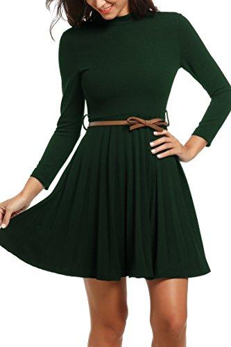 Zeagoo Damen Rollkragen Abschlusskleid Langarmkleid Partykleider Etuikleid A-Linie Kleider mit...