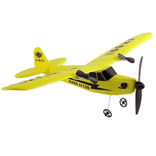 Fernbedienung RC Hubschrauber Flugzeug Segelflugzeug Flugzeug EPP Schaum 2CH 2.4G Spielzeug für kinder (Gelb)