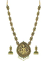 Zaveri Pearls Temple Carved & Pearl Drop Necklace Set for Women - ZPFK4443