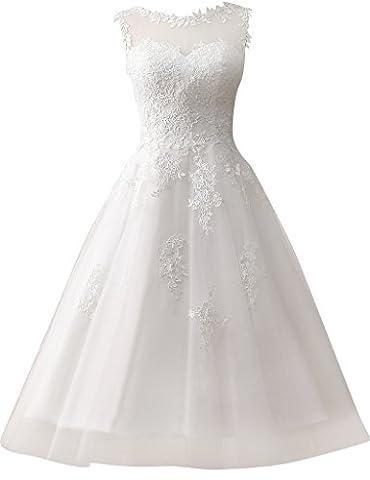 JAEDEN Damen Kurze Tuell Hochzeitskleider Spitze Rundkragen Formales Brautkleid Elfenbein