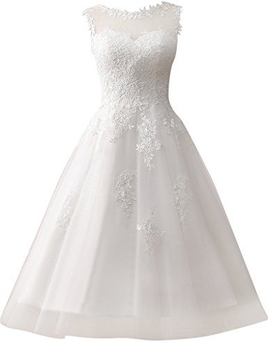 JAEDEN Damen Kurze Tuell Hochzeitskleider Spitze Rundkragen Formales Brautkleid Elfenbein EUR38