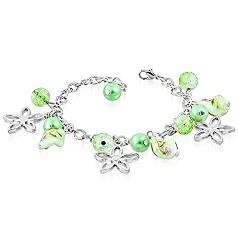 The Goldmine Colorful Light Green Pearl Twisted Glass Bead Ball Flower Star Charm Link Chain Bracelet,