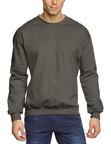 Anvil Men's Adult Crewneck Plain Long Sleeve Sweatshirt, Grey (Charcoal),