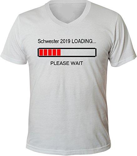 Mister Merchandise Herren Men V-Ausschnitt T-Shirt Schwester 2019 Loading Tee Shirt Neck bedruckt Weiß