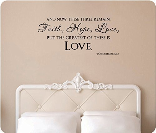 """Wandaufkleber Wall Sticker quotes 44"""" And Now These Three Remain Faith Hope Love But The Greatest of These is Love 1 Corinthians 13:13 Christian Bible Scripture Verse Wedding Religious Wall Decal Sticker Art Mural Home Decor Quote"""