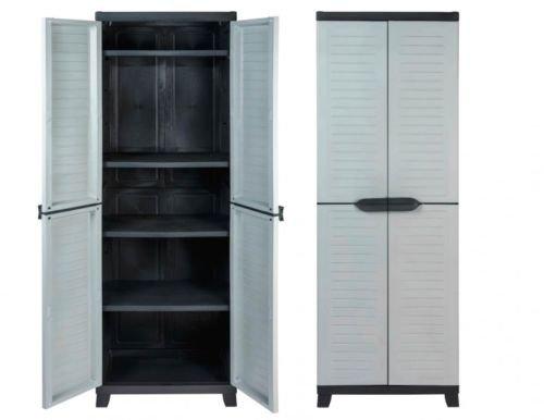 Vorteils-Pack 2 Stück Kunststoffschrank, Schrank mit vier höhenverstellbaren Böden, abschließbaren Türen und Füßen, Maße pro Schrank BxTxH in cm: 65 x 45 x 181 cm -