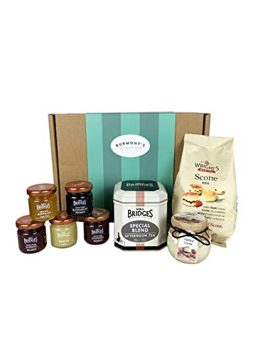 The Ultimate Great British Afternoon Tea & Scones Hamper - Including Tea, Premium Scone Mix, Clotted Cream, Jams, Preserves & Marmalades - Hamper Exclusive to Burmont's