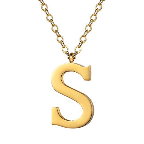 PROSTEEL Halskette Edelstahl Buchstabe S Alphabet Charme Anhänger Halskette Fashion Anfangsbuchstabe Modeschmuck mit 55cm Rolokette Gold (S Gold-halskette)