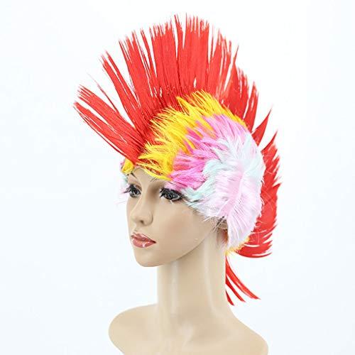 Perücken - Bunte Hähnchen Crown Form Perücke und Halloween Fancy Dress Party Kopfschmuck ()