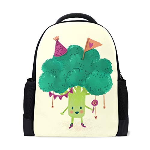 Studenten-Rucksäcke für Schule, Buchtasche, Reisen, Wandern, Camping, Tagesrucksack für Jungen und Mädchen, 40,6 x 30,5 x 15,4 Zoll Laptop, Happy Birthday Broccolli