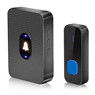 Wireless Doorbell, YVELINES IP55 Waterproof Door Bell with Night Light & LED Flash, Cordless Door Chime with 1 Push Button Transmitter & 1 Plug-in Receiver, Black