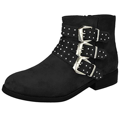Shoes By Emma Ladies Faux Leather Suede Fashion Triple Strap Stud Buckle Zip Flat Biker Ankle Boots Size 4-8