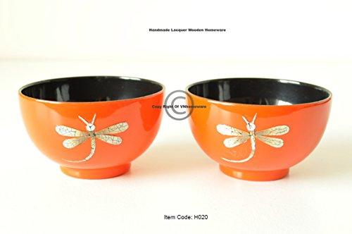 vnhomeware Bols en Bois, Lot de 2 Faite à la Main coupelles à Fruits conteneurs Peinture laquée Brillante incrusté avec Coquille d'œuf, Bols décoratifs Orange Noir, H0202